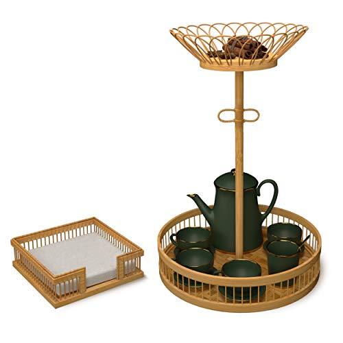 Juego de 3 servilleteros para mesa de cocina,bandeja de servir de madera de bambú pequeña y tazón para frutas,chip,aperitivos,accesorios de mesa rústicos para cenar,mesa de café,decoración de fiestas