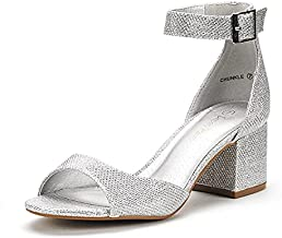 DREAM PAIRS Women's Chunkle Silver Glitter Low Heel Pump Sandals Ankle Strap Dress Shoes - 8.5 M US
