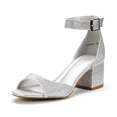 DREAM PAIRS Women's Chunkle Silver Glitter Low Heel Pump Sandals Ankle Strap Dress Shoes - 6.5 M US