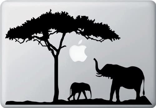 Mom and Baby Elephant Design 2 MacBook or Laptop Decal Sticker Color Variations Available Black product image
