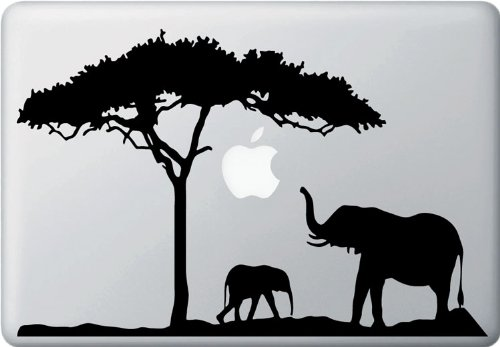 Mom and Baby Elephant Design 2 - MacBook or Laptop Decal Sticker (Color Variations Available) (Black)