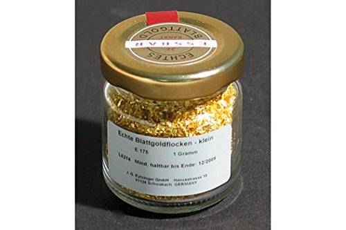Gold - Blattgoldflocken, klein, 22 Karat, E175, 1g