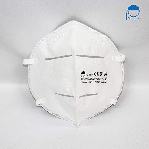 Hochwertige Atemschutzmasken der Klasse FFP2 NR in luftdichter Einzelverpackung, Particle Filtering Half Masks mit CE (NB0194), 5 STK.