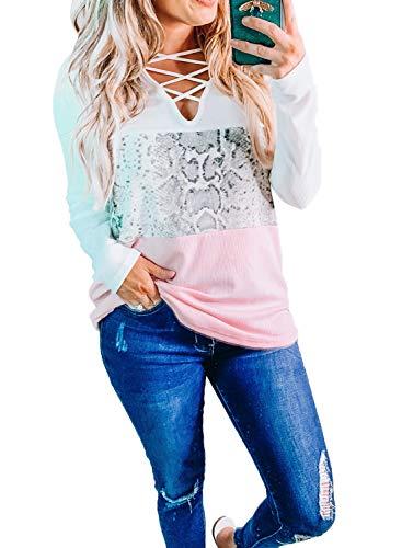 Losrly Damen-Pullover, langärmlig, gekreuzt, lockerer Stil, Schlangenmuster, Tunika, Oberteil, Sweatshirts, Schlange Gr. Small, rose