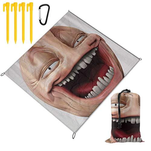 HARXISE Tapis de Pique-Nique,Poker Face Guy Meme Laughing Mock Person Smug Stupid Odd Post Forum Graphic,Imperméable Anti Sable Tapis Pliable Portable Couverture,Pique-Nique,Camping