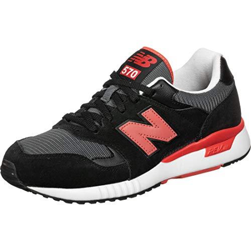 New Balance 774621-60 570 Herren Sneaker aus Lederimitat Textilinnenausstattung, Groesse 45, schwarz/rot