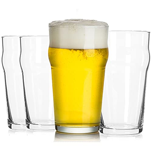 Triplorare Pint Glasses, Set of 4, 20 Oz Unique Beer Glass Set with Traditional British Pub Design, Lead-Free & Easy Stacking, Strong Packing.