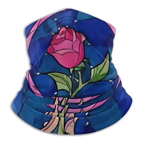 IZOU Beauty And The Beast Stained Glass Rose Neck Gaiter Face Mask,Multifunction for Man Women seasons Magic Scarf Bandana Balaclava