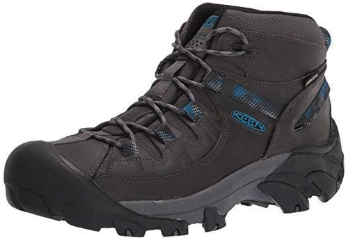 KEEN Men's Targhee 2 Mid Height Waterproof Hiking Boot, Steel Grey/Mykonos Blue, 16