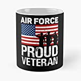 Proud Veteran Us Air Force Red White Blue Flag Patriotic Design - Great For 4th Of July Classic Mug...