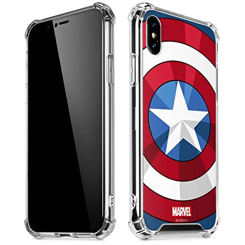 Skinit Clear Phone Case for iPhone X/XS - Officially Licensed Marvel/Disney Captain America Emblem Design