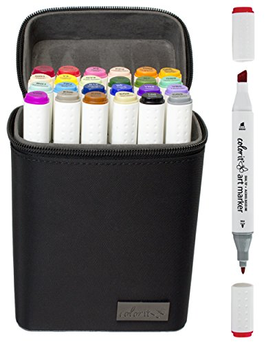 ColorIt 24 Dual Tip Art Markers Set for Coloring - Double Sided Artist Alcohol Permanent Markers with Bullet and Chisel Tip