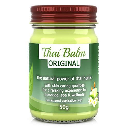 Wang Prom Naturals Thai Kräuter Balm Balsam Thai-Herbs 50g - mit Shea Butter, Jojobaöl und Bienenwachs - Thailändischer Massage-Balm zur Hautpflege Massage Wellness