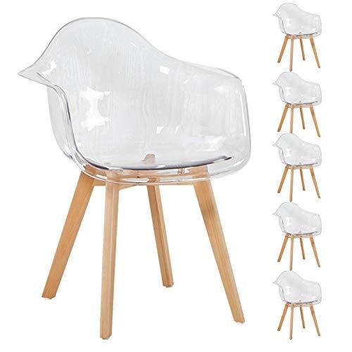 EGGREE Set di 6 Sedie Cucina Trasparenti in Policarbonato Poltrona Design Moderne Sedie Sala da Pranzo, Gambe in Faggio