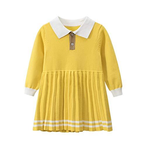 BeedooDoobee 100% algodón suéter vestido jersey amarillo vestido polo Colar ropa para niñas pequeñas de 1-7 años niños - amarillo - 130 cm