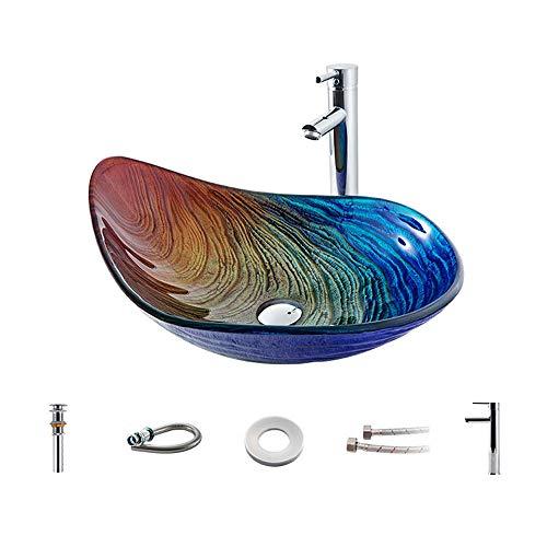 N / E Waschbecken aus gehärtetem Glas, Wassertropfen-Kunst über dem Waschtisch Hotel Badezimmer Waschbecken, Glasschale für Hotel Küche Schlafzimmer