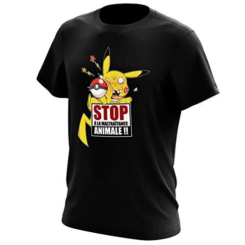 T-Shirt Noir Pokémon parodique Pikachu : Stop à la Maltraitance Animale !! (Parodie Pokémon)