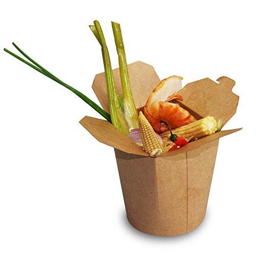 pack2go SmartServ-Boxen - 16oz/500ml für Pasta, Döner, Asia - runde Faltboxen Pappe braun, 500 Stück