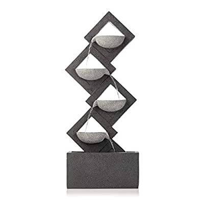 """Alpine Corporation 39"""" Tall Indoor/Outdoor Soothing 4-Tier Zen Fountain with LED Lights"""