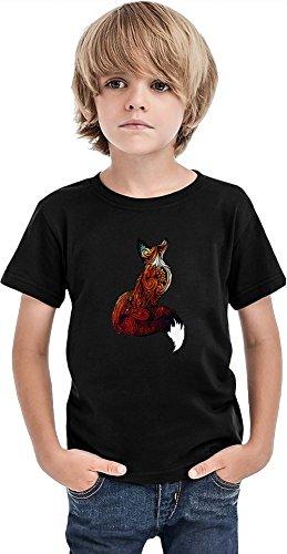 Space Fox Camiseta para niños, Negro, 10-12 Años