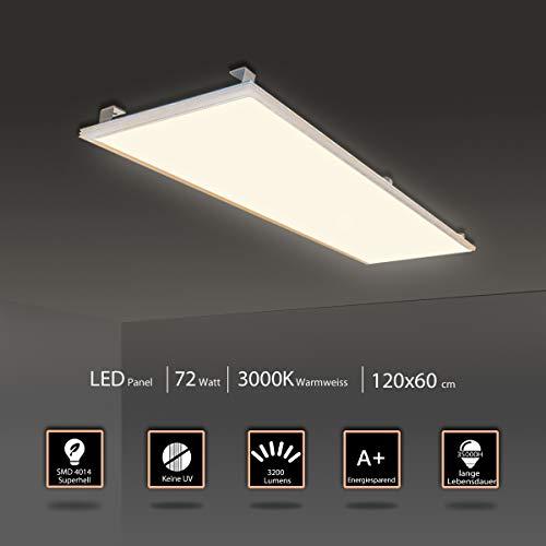 LED Panel Deckenleuchte Wandleuchte 120x60CM 72W Neutralweiß/Silberrahmen 4000K 5500 Lumen Silberrahmen LED Lampe Ultraslim Einbauleuchte mit Trafo