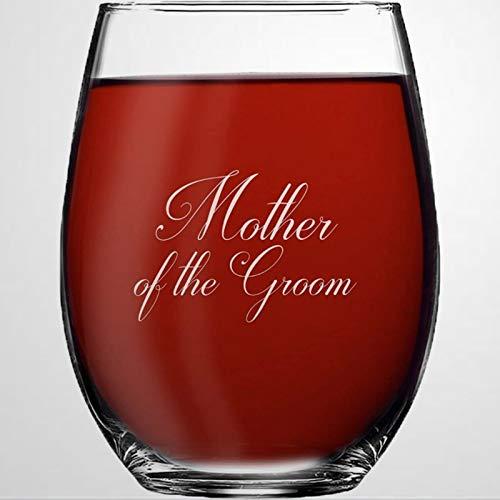Copa de vino sin tallo de cristal para madre del novio, vaso...