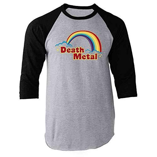 Death Metal Retro Rainbow 70s 80s Sarcastic Black M Raglan Baseball Tee Shirt