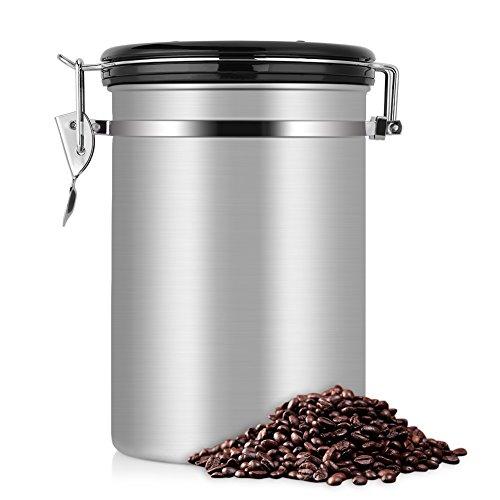 eecoo Kaffeedose, Kaffeedose Luftdicht, Kaffeedose Edelstahl, Kaffeebehälter Luftdichte Aromadose Vorratsdose Edelstahldose Vakuum Dose für kaffeebohnen dose, Pulver, Tee, Nüsse(Silber, 1.8 Liter)