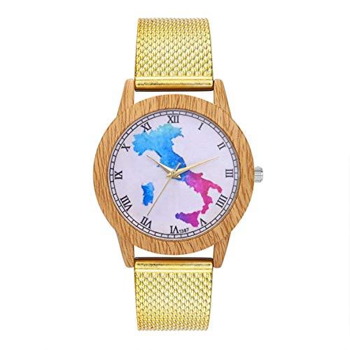 XIANGAI Exquisito Cuarzo con Encanto Moda Casual de Las señoras del Reloj Redondo Grande del Reloj de la joyería Accesorios DecorationT387-F, Color: Rosa de Oro (Color : Gold)