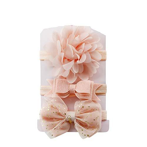 Yookstar 3 Stück Baby Stirnbänder mit Schleife flower Baby Mädchen Neugeborenen Elastisch Haarband Set,Stirnband Weich Kopfband Babyschmuck Babygeschenke & Taufe,Rosa