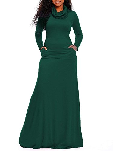 Rela Bota Women's Bodycon Long Sleeve Cowl Neck Plain Loose Casual Long Maxi Dress with Pockets Large Green