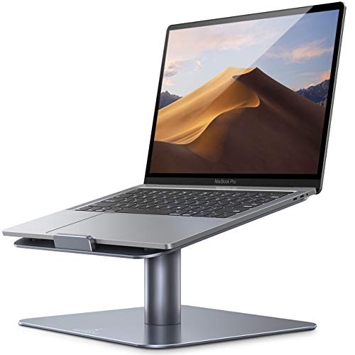 """Swivel Laptop Stand, Lamicall Laptop Riser - [360-Rotating] Ergonomic Aluminum Computer Desk Holder Compatible with MacBook, Air, Pro, Dell XPS, HP and More 10"""" - 17.3"""" Notebooks - Gray"""