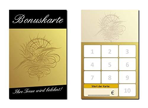 100 Stück Bonuskarten Neutral Wellness Feng Shui (BOK-420) mit 10 Stempelfeldern Treuekarten Massage Beauty