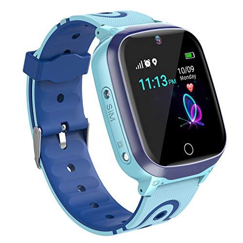 Relojes para Ninos GPS Tracker Inteligente- Smartwatch Niños GPS LBS Localizador SOS Voz Chat Cámara Pantalla Táctil HD Niño Niña Reloj GPS Niñode 4-12 Años Compatible con iOS Android (Azul)