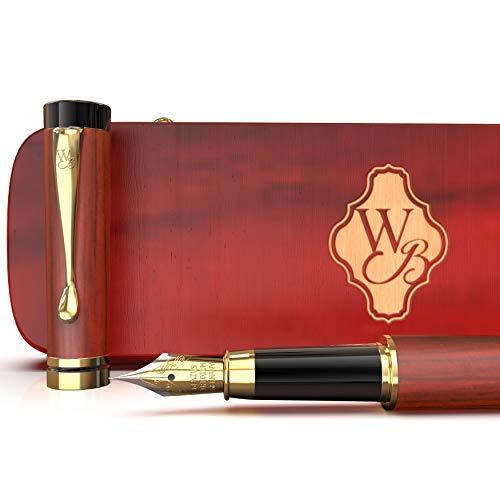 Wordsworth & Black Set penne stilografiche, legno di bambù premium; Pennino medio, custodia regalo; Include 6 cartucce d'inchiostro, convertitore di ricariche d'nchiostro; Calligrafia [Palissandro]