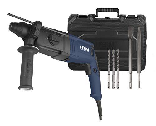 FERM Bohrhammer 800W - 4 Funktionen - incl. 3 SDS-Bohrer, 2 Meißel und praktischer Aufbewahrungskoffer