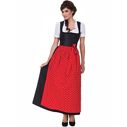 Almbock Langes Dirndl Uschi schwarz mit roter Schürze in Größe 36 38 40 42 44 46 - Trachten-kleid für Hochzeit und festliche Anlässe