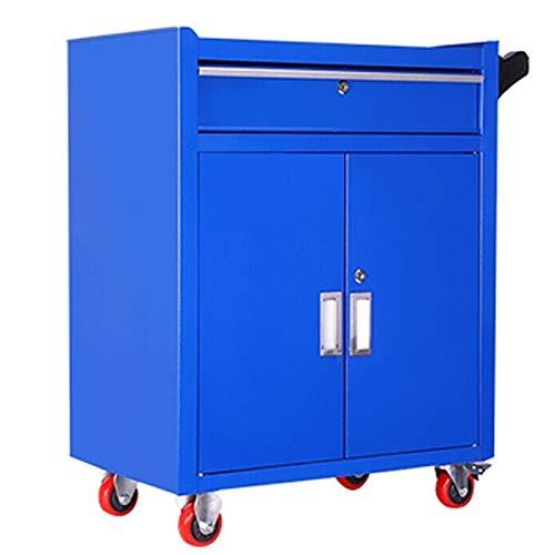 EXCLVEA Schwerlast Schubkarre Auto-Reparatur-Werkzeug Trolley Multifunktions Hardware Werkzeugschrank Blechschrank Werkstatt Schublade Mobile Instandhaltung (Farbe : Blau, Größe : 61x40x63cm)