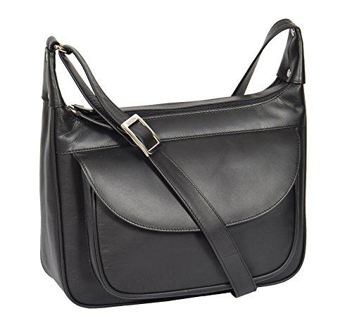 A1 FASHION GOODS Sac à Bandoulière En Cuir Véritable Pour Femme Casual Classic Style Zip Top Grand Sac à Main - A03 Noir