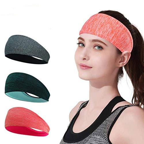 Yean Yoga Workout Hoofdbanden Niet Slip Ademende Stretchy Bandana Hoofd Wrap Stijlvolle Haarbanden voor Mannen Vrouwen(Pack van 3)