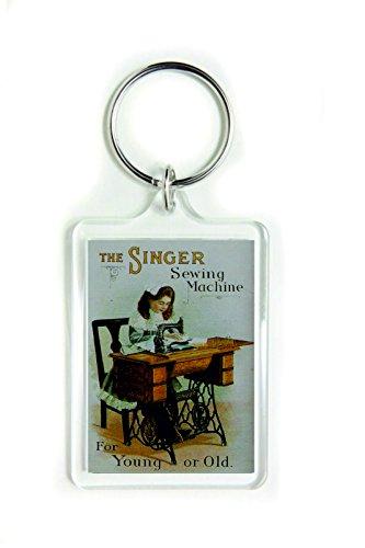 De Singer naaimachine voor jonge of oude acryl sleutelhanger