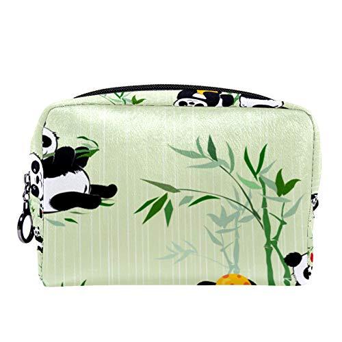 Bolsa de cosméticos Bolsa de Maquillaje para Mujer para Viajar para Llevar cosméticos, Cambio, Llaves, etc. Patrón sin Costuras con pequeños Pandas y Plantas de bambú