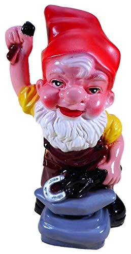 N / A Gartenzwerg Schmied 25 x 13 cm Hufeisen Hammer Amboss Zwerg Angel Germany Garten bruchfest Deko GOM 101