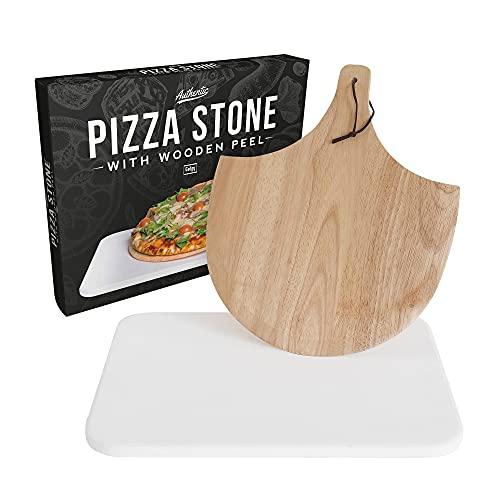 Gadgy Pietra Refrattaria per Pizza | Set con Pala Pizza Legno | Adatto al Barbecue E al Forno | per Il Giardino O La Cucina