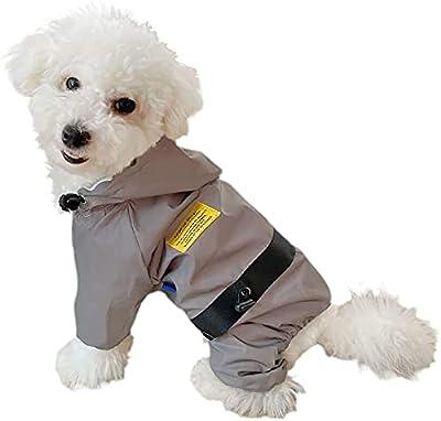 Xiaoyi Dog Raincoat?Adjustable Pet WaterproofClothing?Hoodies with Drawstring and Whole Body Reflective Raincoat for Dog Puppy Small Medium Large(XL,Grey)