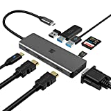 USB C Hub, USB C Adapter, Tiergrade 9 in 1 Triple Display Collage Display Type C Adapter with 2 4K HDMI, VGA, PD, USB 3.0 and TF/SD Card Reader for MacBook and Type-C Laptops