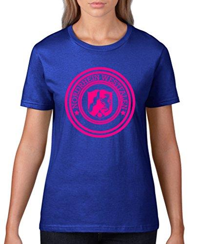 Comedy Shirts T-shirt pour femme avec blason de la Rhénanie du Nord Westphalie – Col rond, 100 % coton, manches courtes - Bleu - X-Large