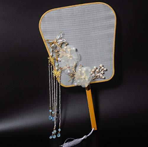 XKMY Abanico creativo con borla para baile, boda, fiesta, abanicos chinos, regalo de lujo, exquisito, para fotografía, danza, regalo de boda (color: blanco cremoso, tamaño del ventilador: otros)