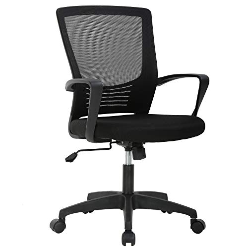 Ergonomic Office Chair Cheap Desk Chair Mesh Computer Chair with Lumbar Support Arms Modern Cute Swivel Rolling Task Mid Back Executive Chair for Women Men Adults Girls,Black
