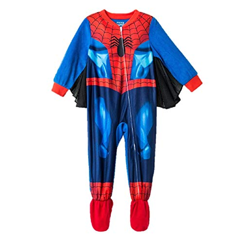Spiderman Spidey Spider Man Toddler Boys Footed Pajamas Blanket Sleeper with Wings (5t) Red